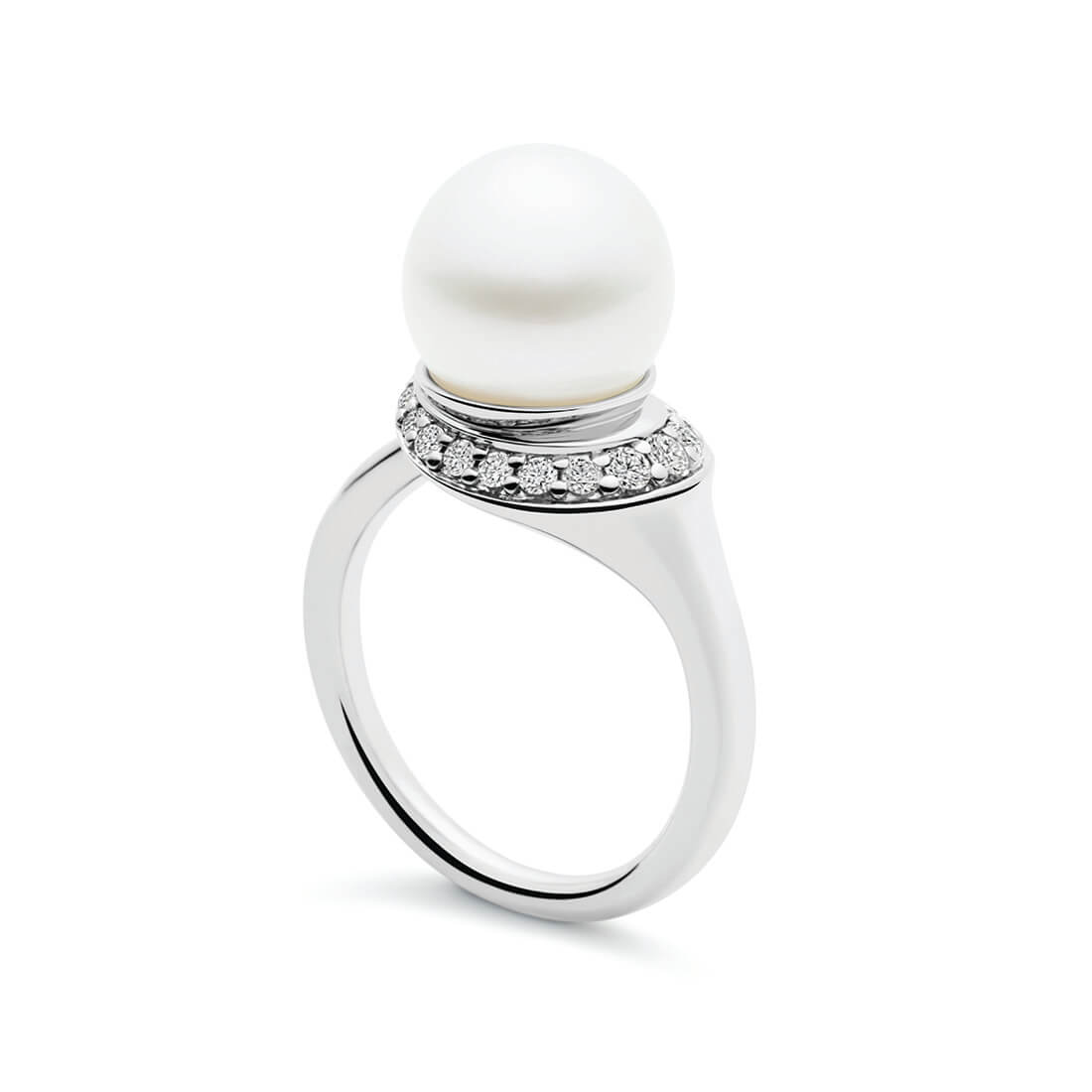 Swan Ring, White Gold