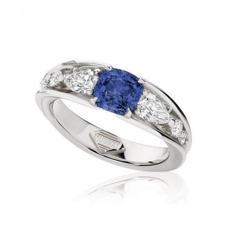 Vivid Bridge Sapphire and Diamond Ring