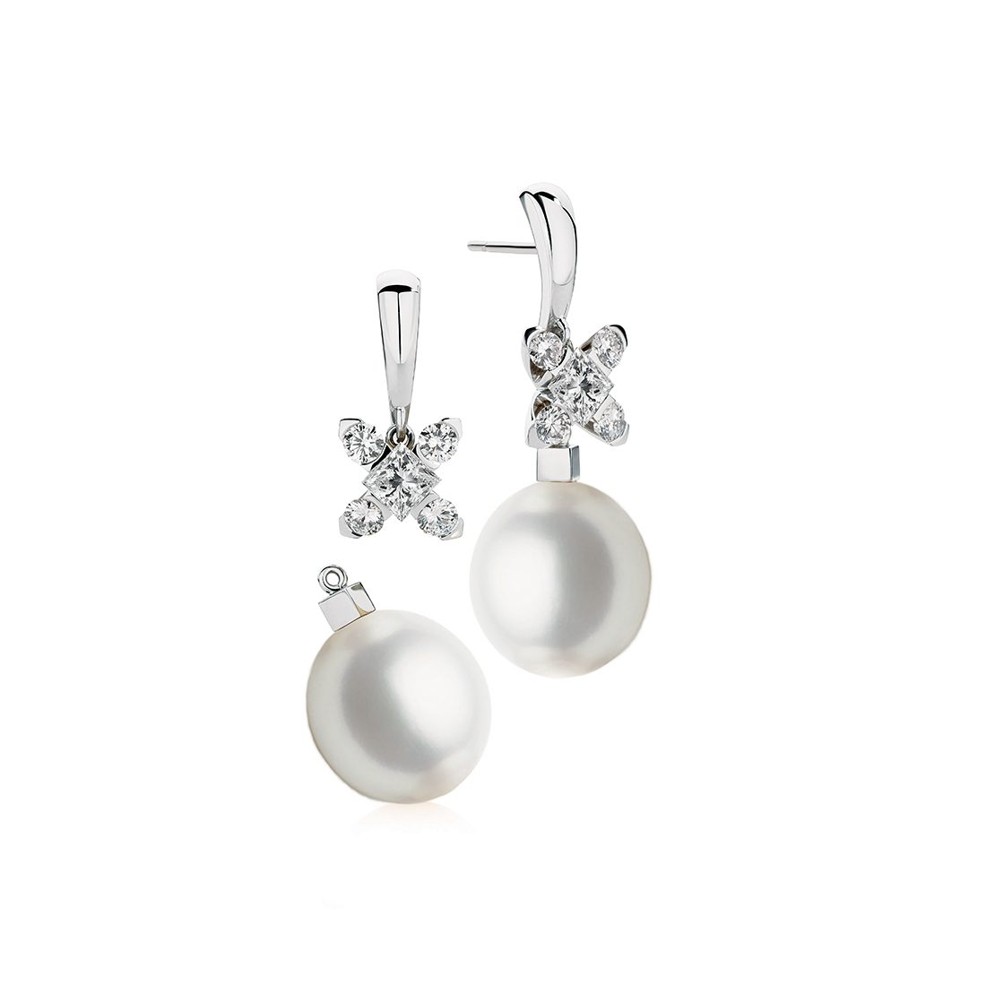 Snowflake Pearl and Diamond Earrings