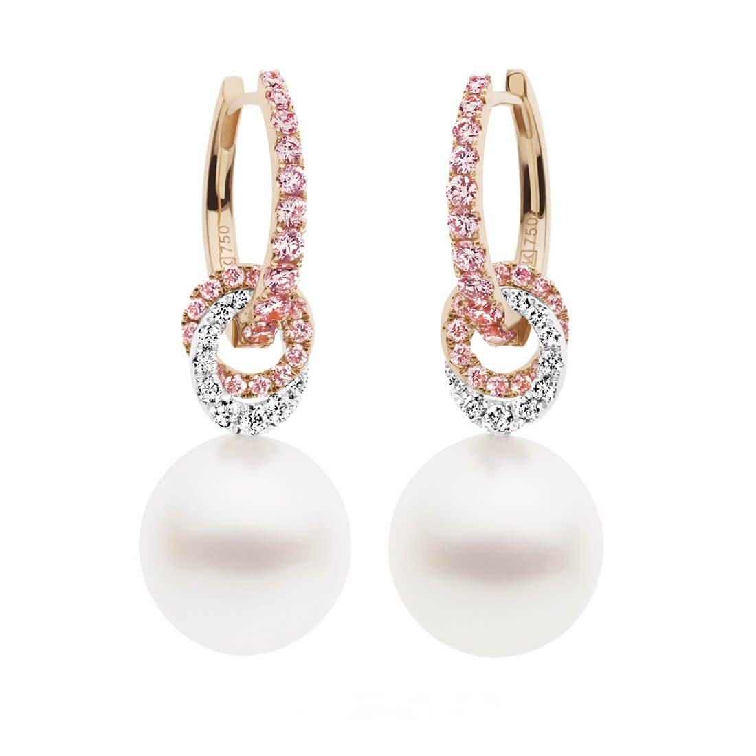 Angelic Huggies and Pearl Drop Earrings, Rosé