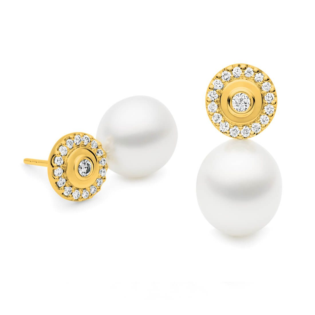 Kailis - Lilypond Pearl Earrings, Yellow Gold