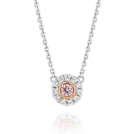 Halo Argyle Pink Diamond Pendant
