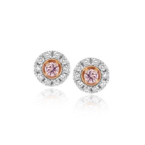 Halo Argyle Pink Diamond Stud Earrings