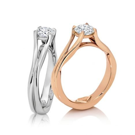 Entwined solitaire diamond engagement ring