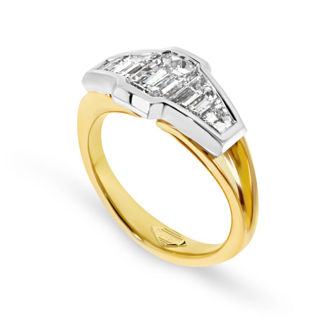 Vivid Bridge Emerald cut Diamond Ring