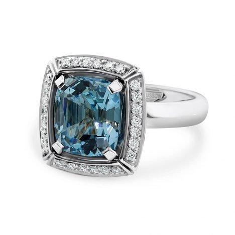 Sun Struck Aquamarine and Diamond ring