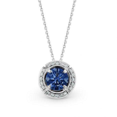 Sun Struck Sapphire and Diamond pendant