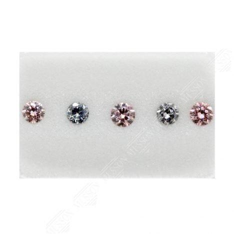 5=0.31ct Natural Fancy Pink / Greyish Blue, 6P/BL2, I1, Argyle Pink Diamond