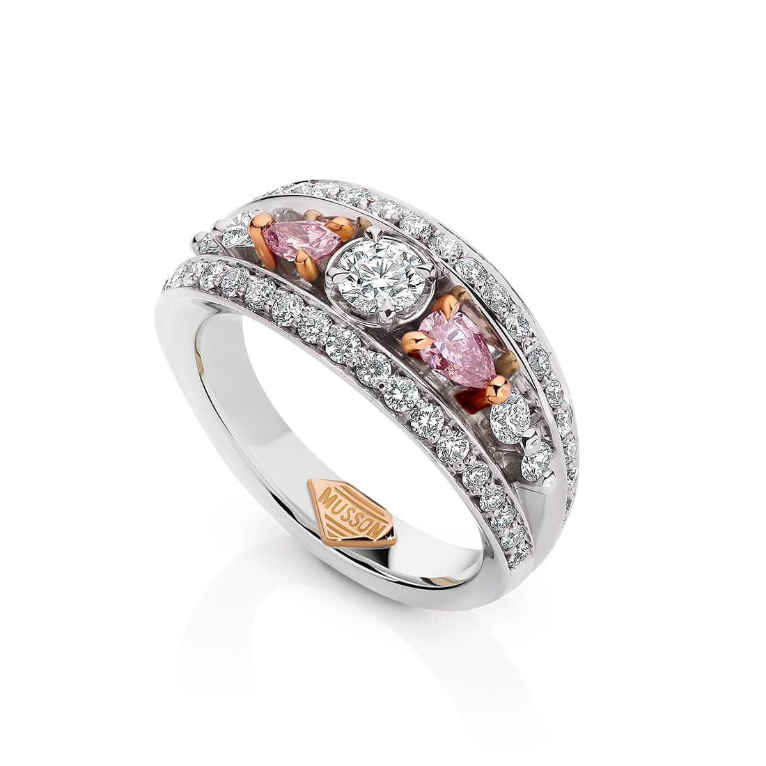 Vivid Bridge Couture Ring, Argyle Pink Diamond