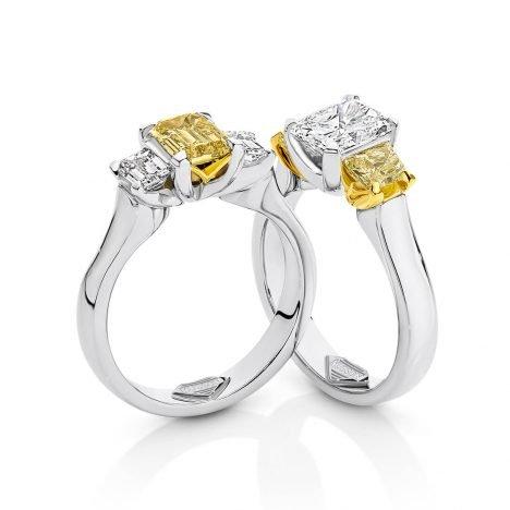 Teiza Trilogy Yellow and White Diamond Ring