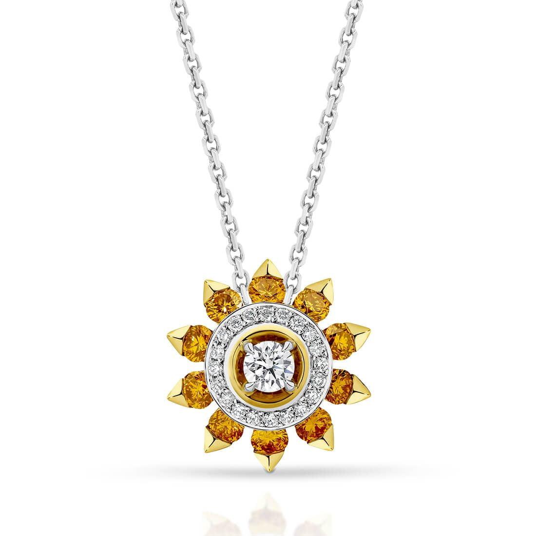 Soleil Pendant, Orange Diamond