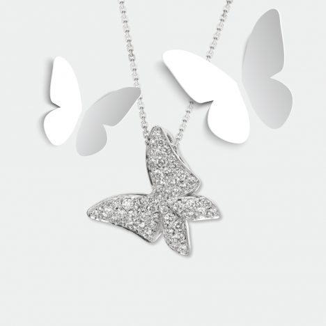 White Butterfly Diamond Pendant