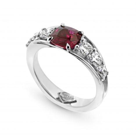 Vivid Bridge Ruby Ring