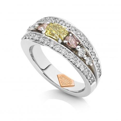 Vivid Bridge Couture Ring, Yellow and Argyle Pink Diamond
