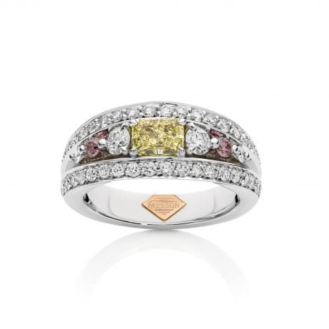 Vivid Bridge Couture Yellow and Argyle Pink Diamond Ring