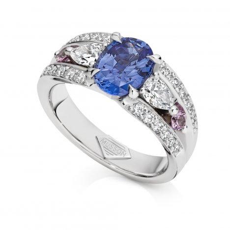 Vivid Bridge Couture Sapphire Ring
