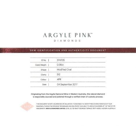 0.36ct Natural Fancy Intense Pink, 4PR, SI1 / SI2, Argyle Pink Diamond
