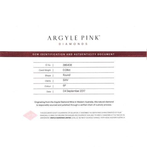 2=0.16ct Natural Fancy Intense Pink, 6P Argyle Diamond