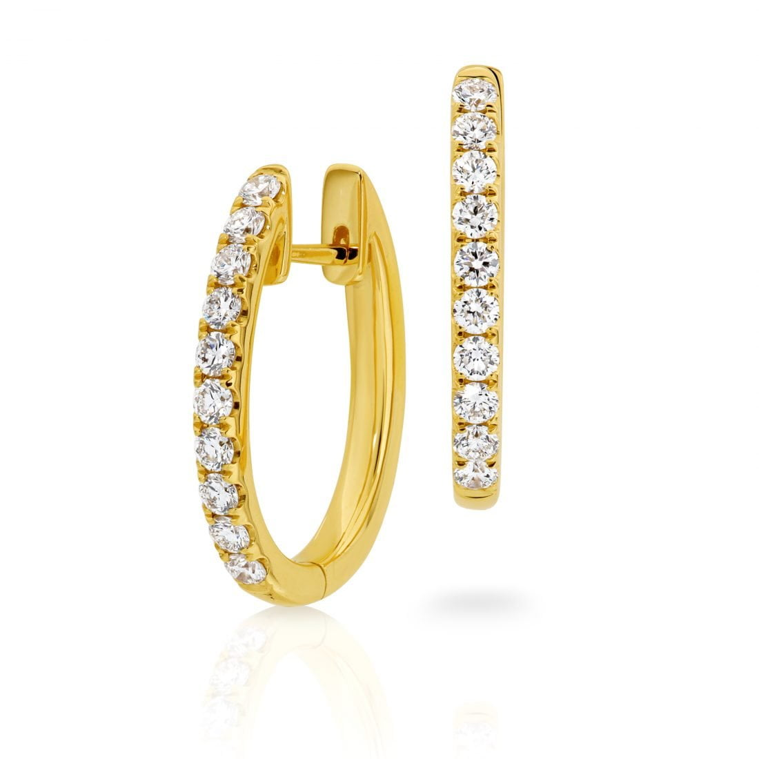 Diamond Day/Night Yellow Gold Hoop Earring