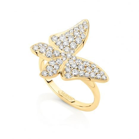 White Butterfly Diamond Ring